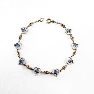 19th century · Bracelet · Enamel · Forget-me-not · Hearts · Language of Flowers · Love · Victorian