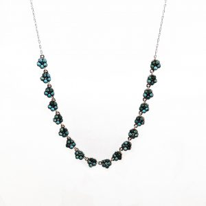 1900 · Chain · Choker · Forget-me-not · Garland · Language of Flowers · Necklace · Rosecut diamonds · Silver · Turquoise · Victorian