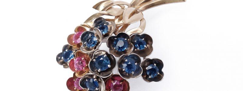Flower Lilac Cartier 1940's Montana Sapphire Gemstones Retro preciousflora.com