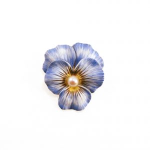 1900 · Brooch · Enamel · Language of Flowers · Newark NJ USA · Pansy · Pearl