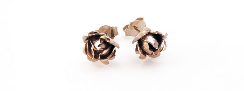 Earrings · Earstuds · Red gold · Rose · Rose bud