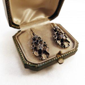 1850 · 19th century · Boxed · Dutch · Earrings · Flemish · Gold · Rosecut diamonds · Silver · The Netherlands · Tulip · Tulipmania