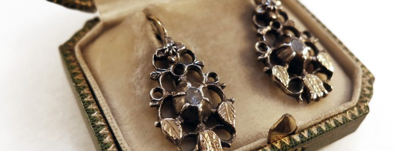 1850 · 19th century · Boxed · Dutch · Earrings · Flemish · Gold · Rosecut diamonds · Silver · The Netherlands · Tulip · Tulipmania