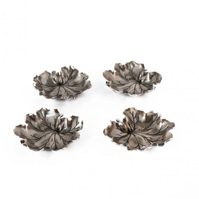 Bowl · Buccellati · Dishes · Geranium · Italian · Leaves · Micro Dish · Pelargonium · Signed · Silver · Sterling · Table Silverware · vide-poche