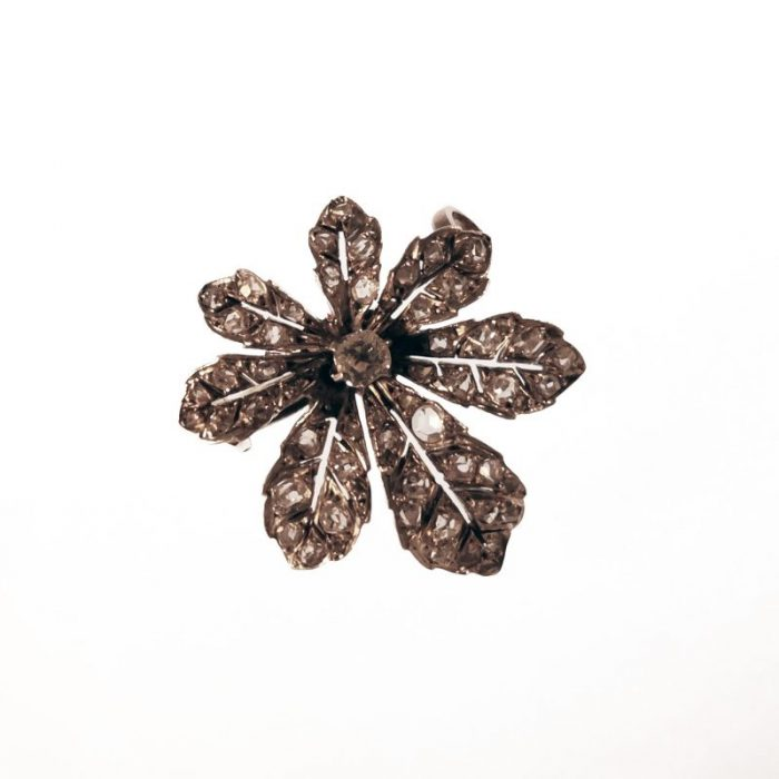 19th century · Brooch · Conker Tree · French · Horse chestnut · Leaf · Old mine cut diamond · Rosecut diamonds · Victorian