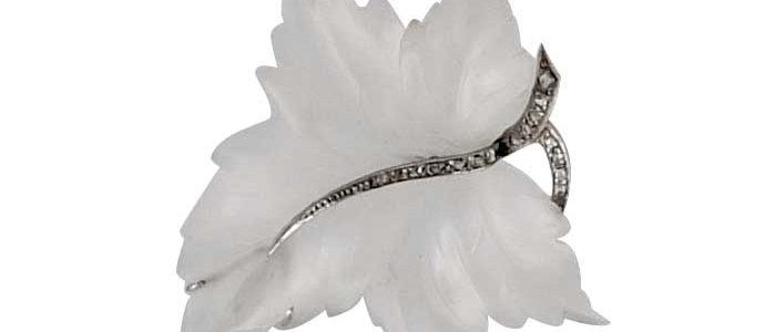 1950's · Brooch · Germany · Leaf · Maple leaf · Rock crystal · Rosecut diamonds · White gold