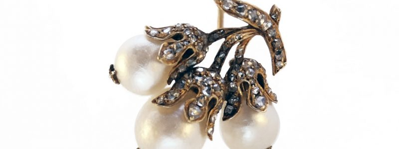 19th century · Brooch · Hazelnut · Natural pearls · Nut · Rosecut diamonds · Victorian