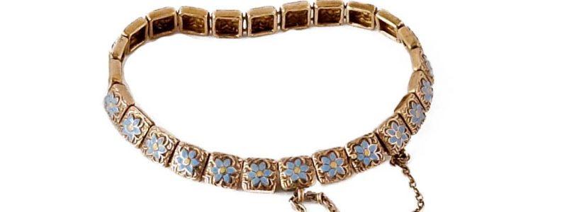 1900 · 19th century · Blue flower · Blue-eyed Grass · Bracelet · Enamel · Forget-me-not · Krementz · Newark NJ USA · Patent · Victorian