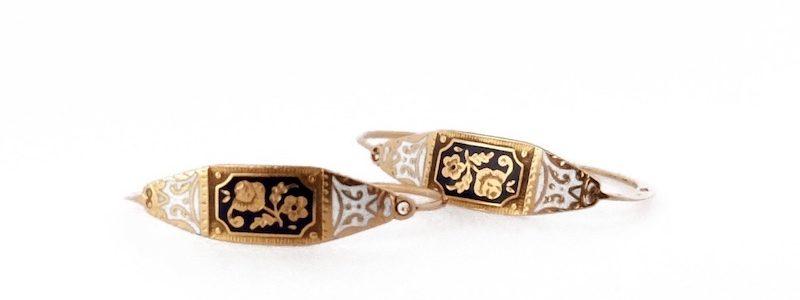 early enamelled Rose earrings