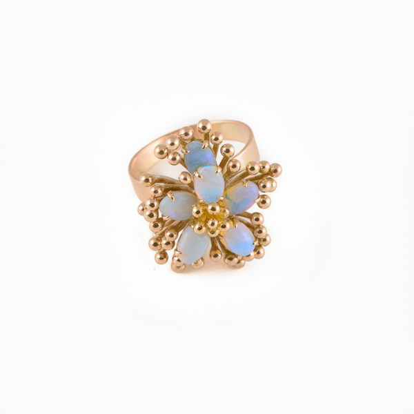 Love-in-a-mist opal flower ring