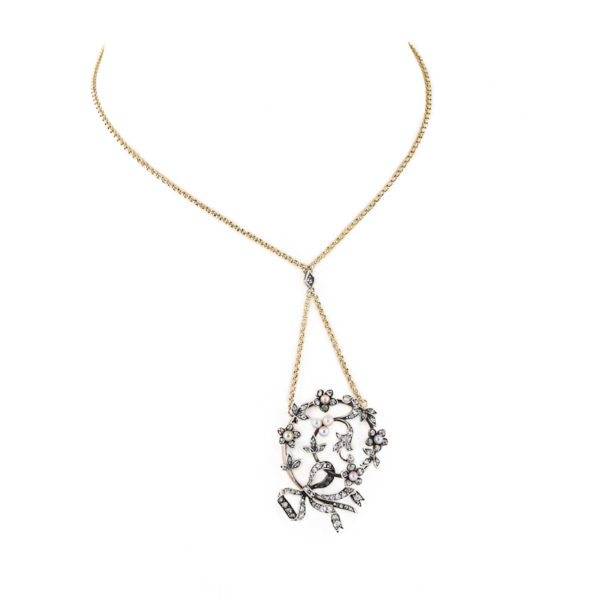 Pearl and diamond floral necklace
