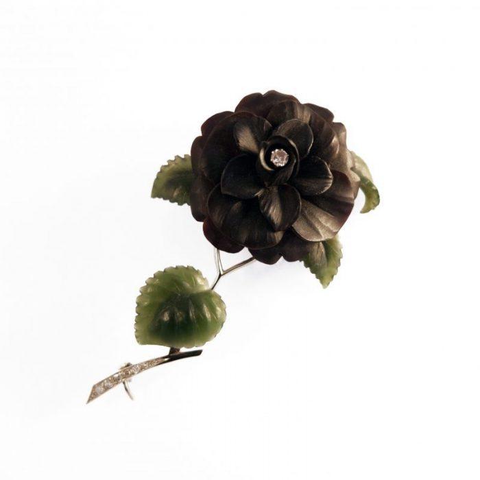 1930's · Austrian · Black rose · Chalcedony · Lapidary · Nephrite · Old mine cut diamond · Onyx · Rose · Vienna