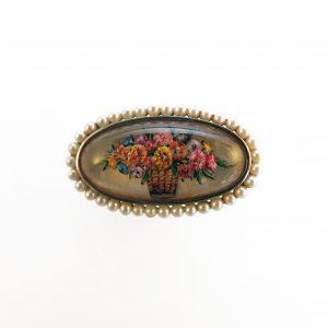 Lush basket of petunias reverse intaglio