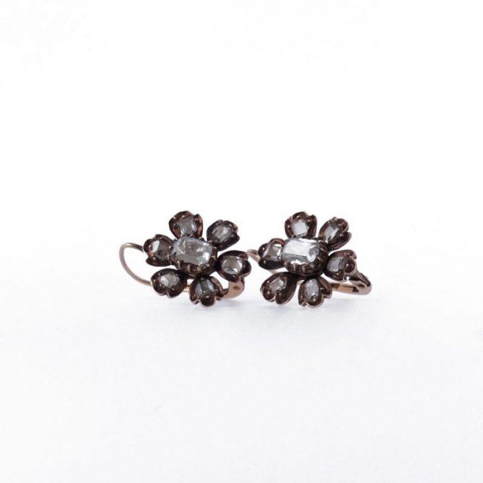 Antique mirror cut diamond earrings buttercup earrings