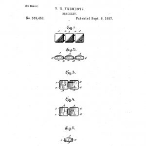 Krementz bracelet patent No. 369,452. Patented Sept. 6, 1887.