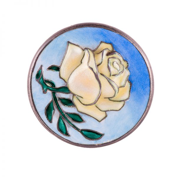 Enameled silver rose brooch