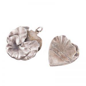 Art nouveau pansy locket opened