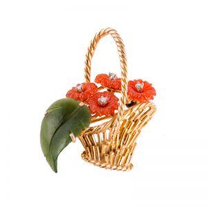 Basket with Chrysanthemums