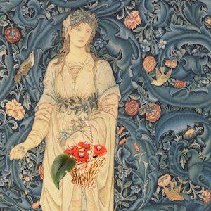 Basket with Chrysanthemums on Flora by Burne Jones & Morris