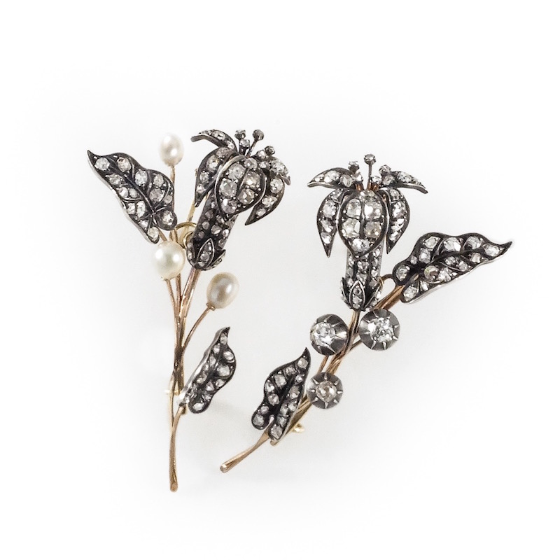 antique diamond lilies spray brooches