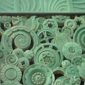Art deco floral pattern tiles