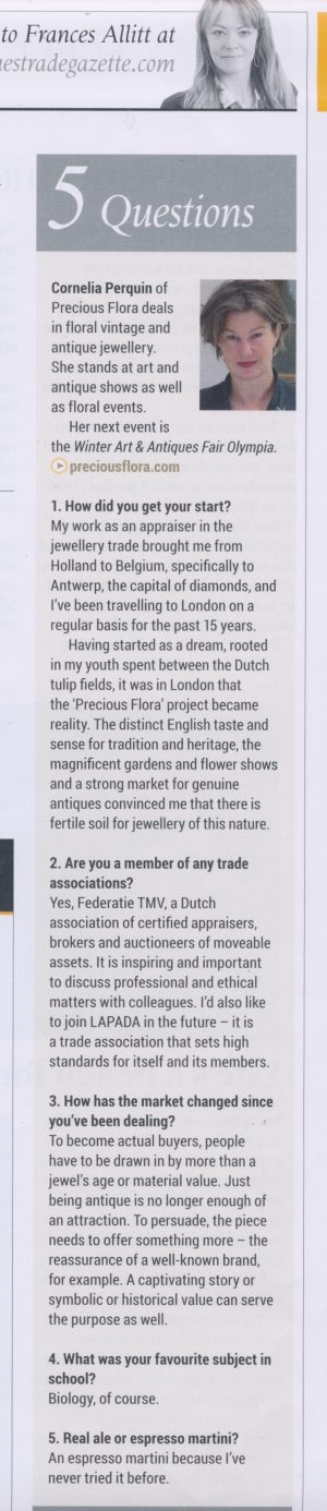 Press Interview 5 questions Antique Trade Gazette Precious Flora