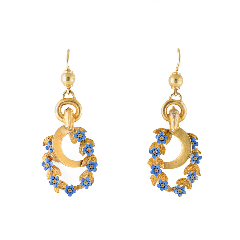 novelty earrings forget me not golden sickle