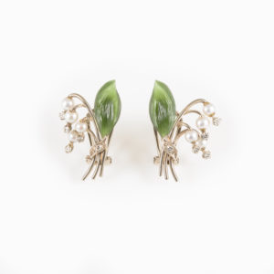 Lily of the valley- earclips