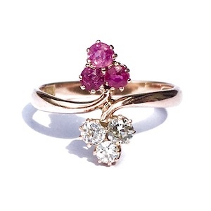 ruby diamond moi & toi clover ring
